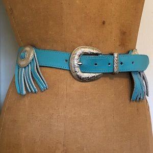 Charley stone teal leather fringe western belt
